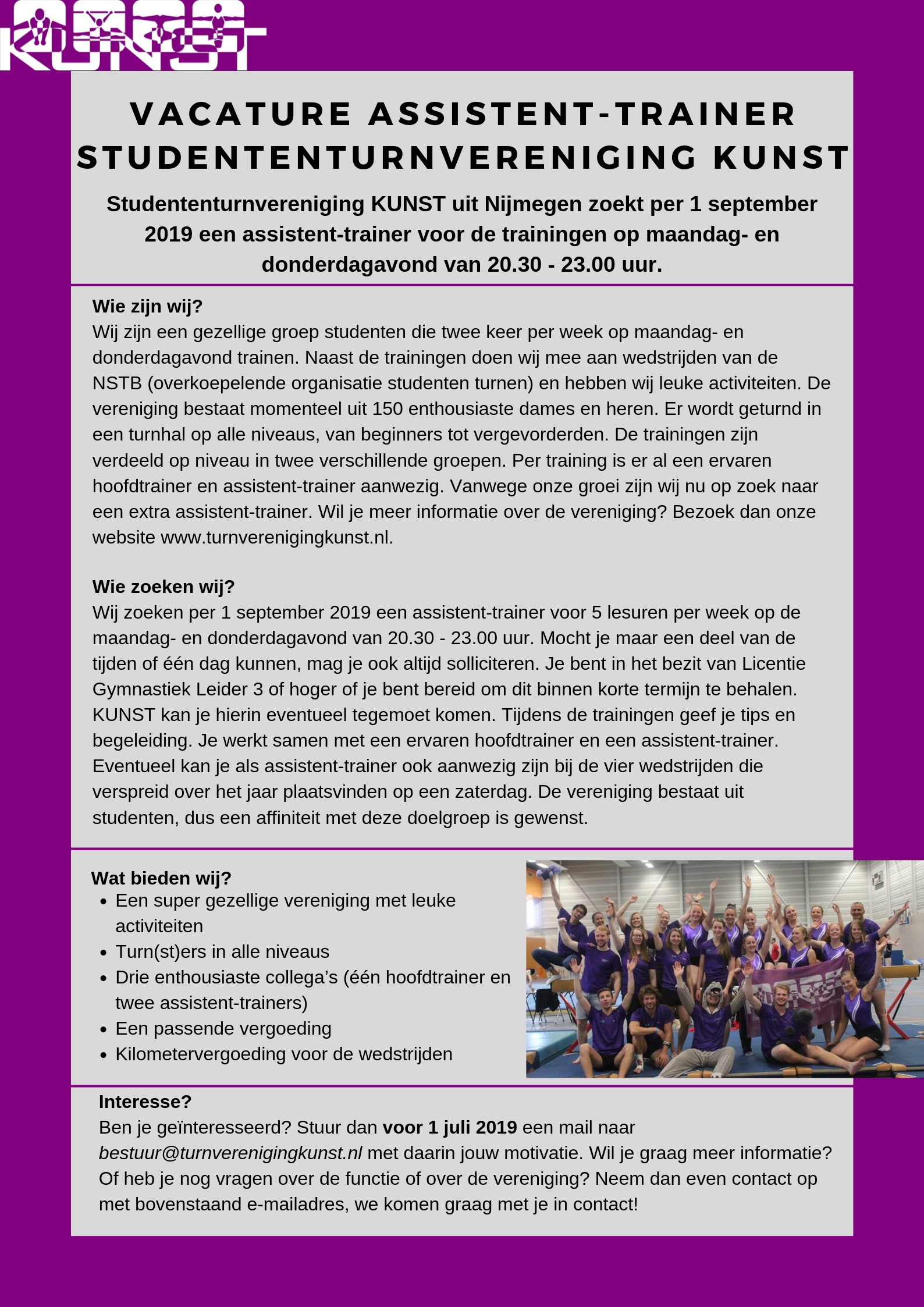 Vacature assistent-trainer KUNST